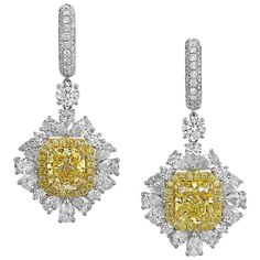 View this item and discover similar for sale at - Fancy Yellow GIA Certified and Carat Cut-Cornered Rectangular Diamond and clarity center stone. Yellow Jewelry, White Gold Jewelry, Diamond Jewelry, Diamond Earrings, Stud Earrings, Gold Jewellery, Couple Jewelry, Fine Jewelry, Mens Sterling Silver Necklace