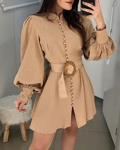 Lantern Sleeve Buttoned Design Dress : Lantern Sleeve Buttoned Design Dress fashion trends 2019 Blazers,fall fashion trends Winter Coats,fall fashion trends Vogue,fallfashion trends Ready To Elegant Dresses, Vintage Dresses, Casual Dresses, Casual Outfits, Fashion Dresses, Dresses For Work, Sexy Dresses, Summer Dresses, Formal Dresses