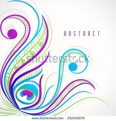 Colorful stylish floral design of peacock feather on abstract background. - stock vector