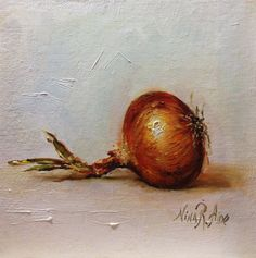 Yellow Onion Original Oil Painting by Nina R. Aide Studio. Oil on canvas panel…