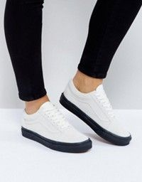 d8770576223 Vans White Leather Old Skool Sneakers With Embossed Sole at asos.com