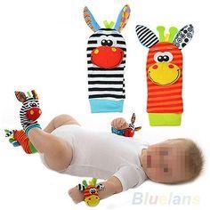 cool Cute Infant Baby Kids Foot Socks Rattles Finders Glove Toys Developmental BC2U - For Sale