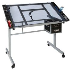 online shopping for OneSpace Craft Station, Silver Blue Glass from top store. See new offer for OneSpace Craft Station, Silver Blue Glass Art Public, Drawing Desk, Craft Station, Craft Desk, Best Desk, Sofa Home, Safety Glass, Home Office Furniture, Steel Frame