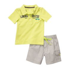 Polo Shorts Set With Neon Accents Cute Baby Boy Outfits, Little Boy Outfits, Cute Baby Clothes, Shopping Catalogues, Little Man, Best Brand, Kids Boys, Cute Babies, Mens Tops