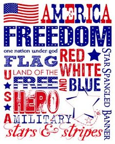 Free printable Subway Art for July 4th