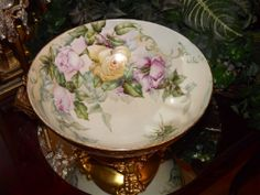 Limoges Huge Punch Bowl Rare Grape and Rose Decor with Heavy Gold from allthingslovelee on Ruby Lane
