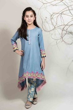 Latest sky blue long shirt for Pakistani little girls Mariab kids party dresses 2017 for wedding
