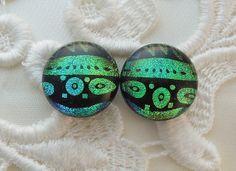 Green Earrings  Dichroic Earrings  Stud by GalaxyGlassStudio, $12.00
