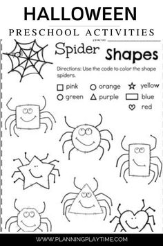 Shape Recognition & Color Matching Spiders. -Fall Preschool Worksheet
