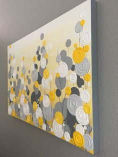 Yellow Gray and White Textured Flower Art 24x30 Ready to by MurrayDesignShop   Etsy