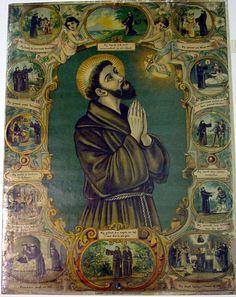 """Kleurenlithografie """"Heilige Franciscus van Assisi"""" op papier"""