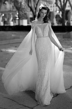 Berta embellished wedding dress with plunging neckline and matching tulle cape, Berta Spring 2016 Bridal Collection