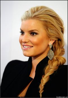Jessica Simpson braided style - teased roots pulled into a side braid