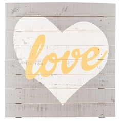 """Put a little love on your walls with Gray, White & Yellow Love with Heart Wooden Sign. This beautiful sign features gray painted wooden planks with a white heart and the word """"love"""" in mustard yellow cursive. Hang it in your bedroom, living room, guest room, office, and more for a beautiful and chic touch of romance. Dimensions: Length: 25"""" Width: 24"""" Thickness: 1 1/8"""" Hanging Hardware: 2 - Metal ..."""