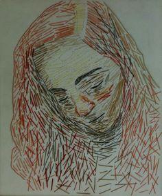 Retratos bordados / Desenhar com linhas - alunos do 11.º ano