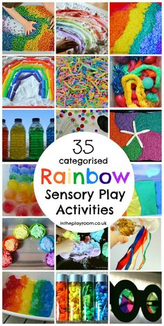35 categorised rainbow sensory play activities with wet and dry sensory materials, sensory doughs, light play and more