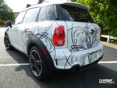 Finished cut vinyl car graphics for mini cooper. 12-Point SignWorks