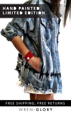 Tomboy Fashion, Boho Fashion, Fashion Design, Elisa Cavaletti, Denim Outfit, Distressed Denim, Refashion, Punk, Diy Clothes