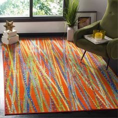 Shop the Rug - Color: Orange, Multi; Size: x by Safavieh. Made from Nylon in Turkey. This Power-Loomed Orange, Multi rug has a pile_height, perfect for a soft yet durable addition to your home. Colorful Rugs, Boho Rug, Online Home Decor Stores, Rug Sale, Living Room Orange, Rugs, Contemporary Rug, Area Rugs, Floor Decor