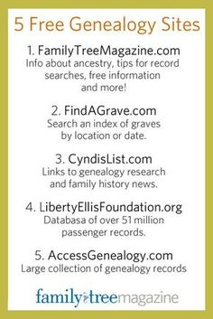 5 free genealogy websites for family history and ancestry research. Great for… 5 free genealogy websites for family history and ancestry research. Free Genealogy Sites, Genealogy Research, Family Genealogy, Free Genealogy Records, Mormon Genealogy, Genealogy Forms, Genealogy Humor, Genealogy Chart, Family Tree Research