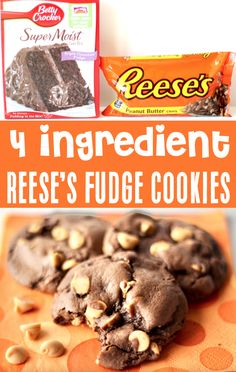 Chocolate Cake Mix Recipes - Easy Fudge Cookie! With just 4 ingredients, this delicious treat will be one of the EASIEST desserts you'll ever make! They're soft, fudgy, and will disappear as fast as you can make them! Go grab the recipe and give them a try this week! Chocolate Cake Mix Recipes, Cake Mix Cookie Recipes, Chocolate Fudge Cake, Cake Mix Cookies, Best Cookie Recipes, Yummy Cookies, Sweet Recipes, Dessert Recipes, Halloween Desserts