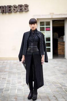 Kozue Akimoto in Paris #black #fashion #street #style