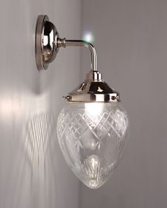 Designer Wall Light, Penyard Clear Cut Glass Contemporary Bathroom Wall Light (IP44 Rated)
