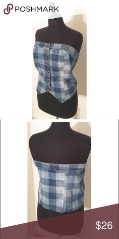 ✨CHECKER DENIM BUSTIER CROPPED TOP✨ 18/20 Fits better on 16/18. It will fit a 20 but very tight almost corset if that's the desired look Ashley Stewart Tops