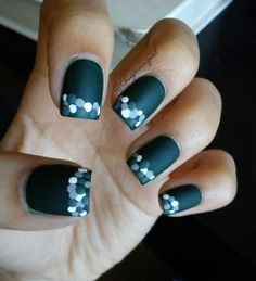 Dotted nail art design with NYC matte top coat