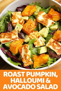 Pumpkin, Halloumi and Avocado Salad Recipe – Cook It Real Good Pumpkin, Avocado and Halloumi Salad is perfect for weeknight dinner – minimal effort, maximum taste. Halloumi Salad Recipes, Avocado Salad Recipes, Easy Salads, Healthy Salad Recipes, Summer Salads, Vegetarian Recipes, Cooking Recipes, Spinach Salad, Asparagus Salad
