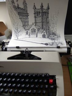 British artist Keira Rathbone uses typewriters, instead of brushes and pencils