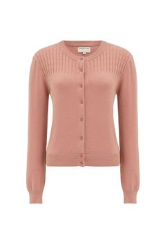 Organic Fairtrade cotton knitted round-neck cardigan with cable knit. We love this romantic cable-knit cardigan with tailoring. Hannah is 5'9 and is wearing a size 10.