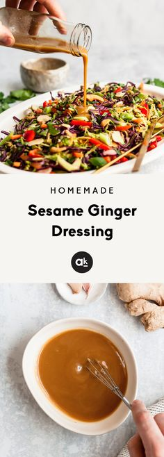Flavorful, easy sesame ginger dressing recipe made with simple ingredients. This healthy homemade dressing is sweet savory, vegan and perfect for adding to veggie packed salads or using as a marinade. Ginger Salad Dressings, Salad Dressing Recipes, Sesame Ginger Dressing, Sesame Salad Dressing, Sesame Dressing Recipe, Kitchen Recipes, Cooking Recipes, Asian Recipes, Healthy Recipes