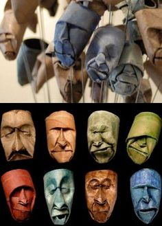 I was surprise when I found they where made by one small toilet roll tube.  Recycled Art Toilet Roll Heads    The artist is Junior Jacquet.