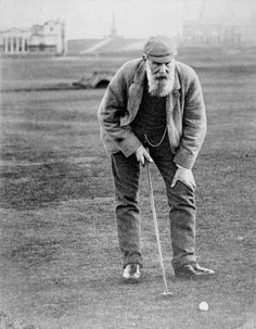 """Here's another great old golf photo of Tom Morris. Tom Morris, Jr. (1851-1875) """"Young"""" Tom Morris started playing golf matches when he was just 13 years old. He won the British Open Championship for the first time in 1868 at age 17, and remains the youngest player to ever win it. In that tournament, he also recorded the first hole-in-one in the competition. He won again in 1869 and 1870, when his winning score for the 36 holes was 149, including an eagle 3 at the first hole in the final…"""