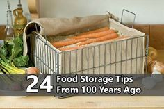 Root Crop Storage Bin- root veggies like carrots and beets will stay fresh all winter and even grow sweeter in this storage bin. Just fill with layers of damp sand or sawdust, alternating with layers of carrots or beets, and put in a cool, dark place. Vegetable Storage Bin, Vegetable Bin, Root Cellar, Root Vegetables, Store Vegetables, Winter Vegetables, Preserving Food, Food Storage, Produce Storage