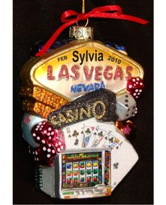 Living it up in Las Vegas Glass Christmas Ornament  Ornament and