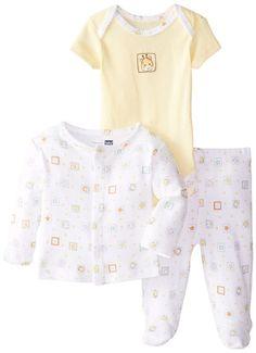 9d0930da3 Vitamins Baby Baby-Boys Infant Giraffe Print 3 Piece Cardigan Pant Set,  White, 3 Months