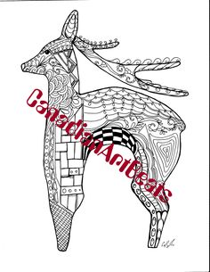 Coloring Page Downloadable Reindeer Inspired by antique necklace Printable Art by CanadianArtBeats on Etsy