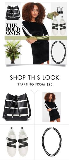 """be bold in black and white"" by bonnie-wright-1 ❤ liked on Polyvore featuring Lauren Ralph Lauren, Valentino and Nearly Natural"