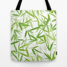 Bamboo Leaves Tote Bag by patterndesign - $22.00