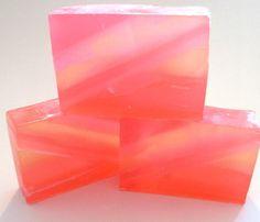 Pink Grapefruit Glycerin Soap, Striped, Fresh Citrus fragrance, Pink soap