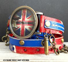 UK Flag Leather Wrap Watch, Womens leather watch, Bracelet Watch, Wrist Watch with charm