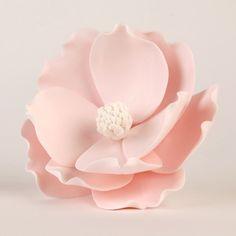 Pink Magnolia Sugarflower Cake topper perfect for cake decorating fondant cakes.  Gumpaste flower. | CaljavaOnline.com #caljava #magnolia #sugarflower