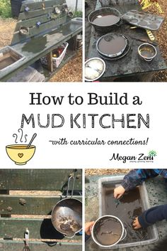 Mud Kitchens are essential for outdoor play all year. Mud kitchens provide hours of creative unstructured play, with valuable opportunities to explore curricular learning! Hells Kitchen, Mud Kitchen, Outdoor Learning Spaces, Outdoor Education, Summer Activities For Kids, Outdoor Activities, Toddler Activities, Learning Activities, Teaching Ideas