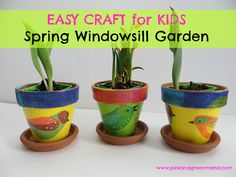 Spring Windowsill Garden For Children with DIY Flower Pots Using Mod Podge Washout and Apple Barrel Paints