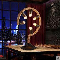 94.49$  Watch here - http://alinom.worldwells.pw/go.php?t=32710162442 - E27*6 Nordic American LED Desk Lamp Fabric Hemp Rope Modern Table Lamp For Study Room Cafe Bar Home Lightings Luminaria De Mesa