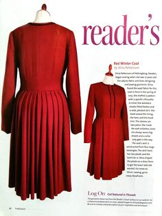 """""""It's here!"""" - About finally seeing my ruby red coat in Threads magazine! 