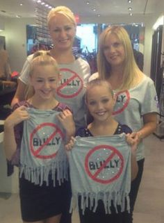 Dance Moms Christi and Melissa with daughters Chloe and Maddie supporting no bullying