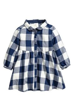 Dress in checked cotton flannel with a rounded collar and buttons at front. Long sleeves with roll-up tab and button, gathered seam at waist, and Kids Dress Wear, Baby Dress, Baby Girl Fashion, Fashion Kids, Baby Outfits, Kids Outfits, Girlie Style, Family Picture Outfits, Flannel Dress